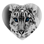 Animal Leopard In Snow Heart Ornament (Two Sides)