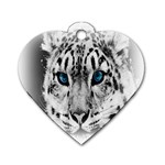 Animal Leopard In Snow Dog Tag Heart (One Side)