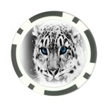 Animal Leopard In Snow Poker Chip Card Guard