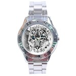 Animal Leopard In Snow Stainless Steel Analogue Men's Watch