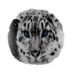 Animal Leopard In Snow 15  Premium Round Cushion