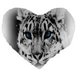 Animal Leopard In Snow 19  Premium Heart Shape Cushion