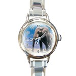 Animals Elephants Lonely But Strong Round Italian Charm Watch