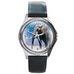 Animals Elephants Lonely But Strong Round Metal Watch