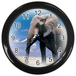 Animals Elephants Lonely But Strong Wall Clock (Black)