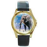 Animals Elephants Lonely But Strong Round Gold Metal Watch