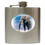 Animals Elephants Lonely But Strong Hip Flask (6 oz)