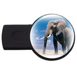 Animals Elephants Lonely But Strong USB Flash Drive Round (2 GB)