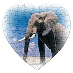 Animals Elephants Lonely But Strong Jigsaw Puzzle (Heart)
