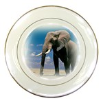 Animals Elephants Lonely But Strong Porcelain Plate