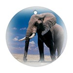 Animals Elephants Lonely But Strong Round Ornament (Two Sides)