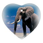 Animals Elephants Lonely But Strong Heart Ornament (Two Sides)
