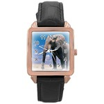 Animals Elephants Lonely But Strong Rose Gold Leather Watch