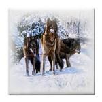 Animal Wolf Family Love Tile Coaster