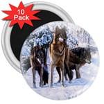 Animal Wolf Family Love 3  Magnet (10 pack)
