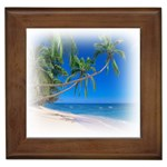 Beach Palm Trees Stretching Out For Love Framed Tile