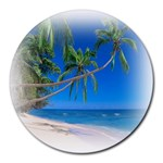 Beach Palm Trees Stretching Out For Love Round Mousepad