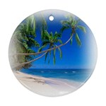 Beach Palm Trees Stretching Out For Love Ornament (Round)