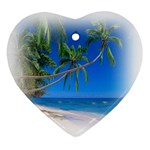 Beach Palm Trees Stretching Out For Love Ornament (Heart)