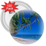 Beach Palm Trees Stretching Out For Love 3  Button (100 pack)