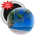 Beach Palm Trees Stretching Out For Love 3  Magnet (100 pack)