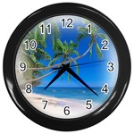 Beach Palm Trees Stretching Out For Love Wall Clock (Black)