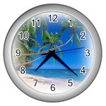 Beach Palm Trees Stretching Out For Love Wall Clock (Silver)