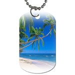 Beach Palm Trees Stretching Out For Love Dog Tag (One Side)