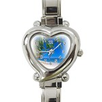 Beach Palm Trees Stretching Out For Love Heart Italian Charm Watch