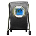 Beach Palm Trees Stretching Out For Love Pen Holder Desk Clock