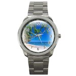 Beach Palm Trees Stretching Out For Love Sport Metal Watch