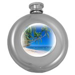 Beach Palm Trees Stretching Out For Love Hip Flask (5 oz)