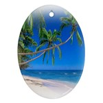 Beach Palm Trees Stretching Out For Love Oval Ornament (Two Sides)