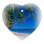 Beach Palm Trees Stretching Out For Love Heart Ornament (Two Sides)