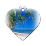 Beach Palm Trees Stretching Out For Love Dog Tag Heart (One Side)