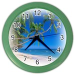 Beach Palm Trees Stretching Out For Love Color Wall Clock