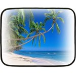Beach Palm Trees Stretching Out For Love Mini Fleece Blanket(Two Sides)