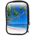 Beach Palm Trees Stretching Out For Love Compact Camera Leather Case