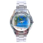 Beach Palm Trees Stretching Out For Love Stainless Steel Analogue Men's Watch