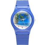 Beach Palm Trees Stretching Out For Love Round Plastic Sport Watch Small