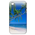 Beach Palm Trees Stretching Out For Love Apple iPhone 4/4S Hardshell Case (PC+Silicone)