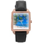 Beach Palm Trees Stretching Out For Love Rose Gold Leather Watch