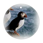 Atlantic Puffin Birds Round Ornament (Two Sides)