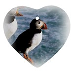 Atlantic Puffin Birds Heart Ornament (Two Sides)