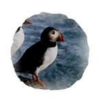 Atlantic Puffin Birds 15  Premium Round Cushion