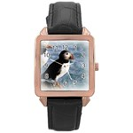 Atlantic Puffin Birds Rose Gold Leather Watch