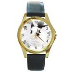 Animals Rabbits Brothers Round Gold Metal Watch