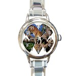 3 Dimention Kingdom Animal King Tree Climber Leopard  Round Italian Charm Watch