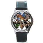 3 Dimention Kingdom Animal King Tree Climber Leopard  Round Metal Watch