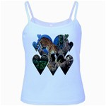 3 Dimention Kingdom Animal King Tree Climber Leopard  Baby Blue Spaghetti Tank